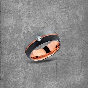 Modern Metal Jewelry Accessories - Rose Gold Ring: Diamond Ring|Tungsten Diamond Ring